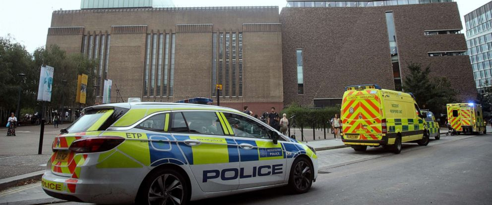 PHOTO: Emergency crews attend the scene at the Tate Modern art gallery, London, Sunday, Aug. 4, 2019.
