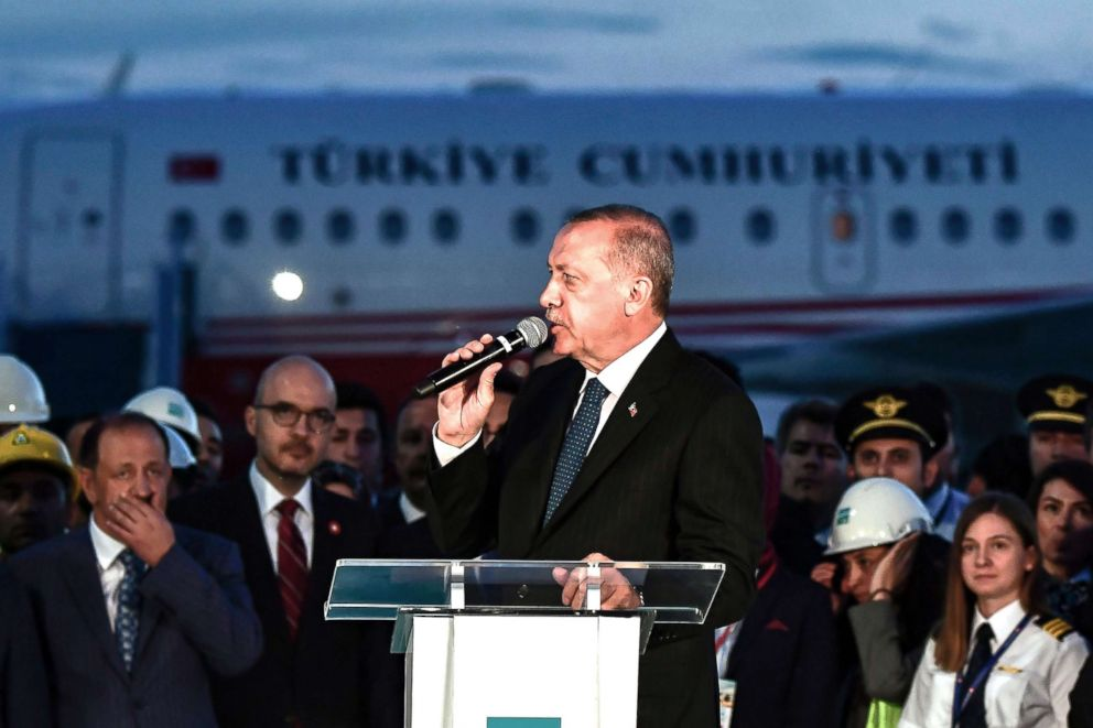 PHOTO: Turkish President Recep Tayyip Erdogan delivers a speech during a press conference following the first landing of his plane at the Istanbul New Airport on June 21, 2018.