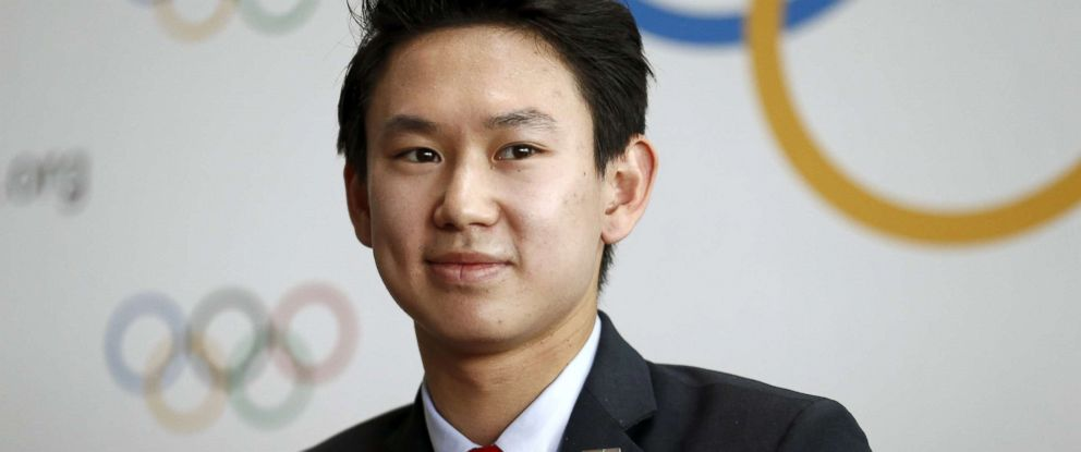 PHOTO: Denis Ten of Kazakhstan, bronze medalist in mens singles figure skating of the 2014 Winter Olympics in Sochi, attends a news conference in Lausanne, Switzerland, June 9, 2015.