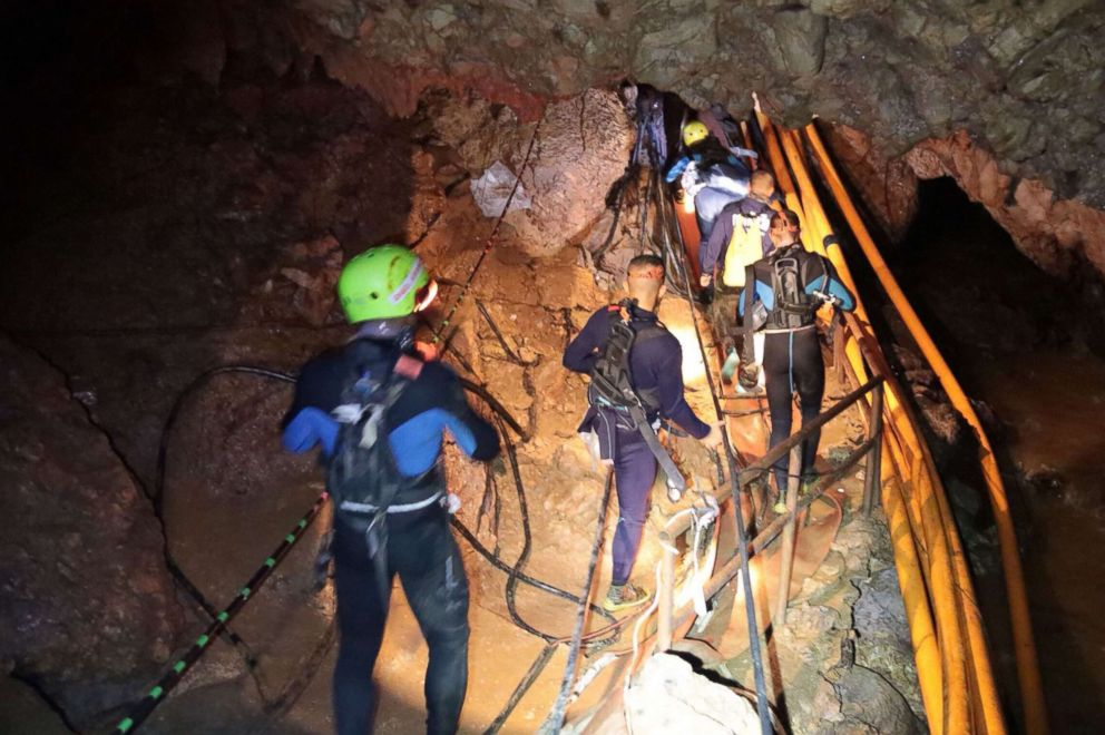 PHOTO: Thai Navy divers in Tham Long cave during rescue operations for the 12 boys and their football team coach trapped in the cave at Khun Nam Nang Non Forest Park in the Mae Sai district of Chiang Rai province.