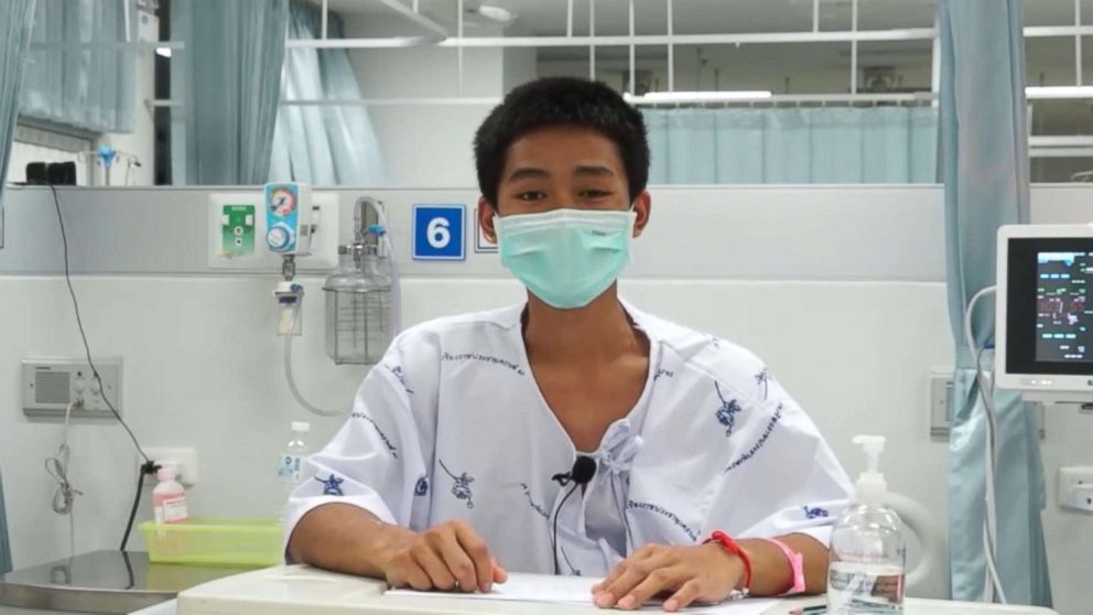 Adul Sam-on, 14, appears in a video message from a hospital in Chiang Rai, Thailand, July 13, 2018.