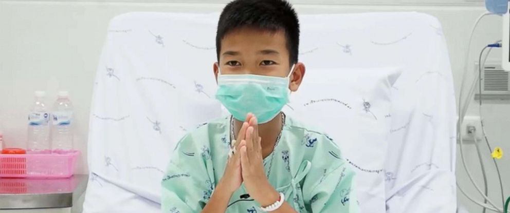 PHOTO: Pornchai Kamluang, 16, appears in a video message from a hospital in Chiang Rai, Thailand, July 13, 2018.