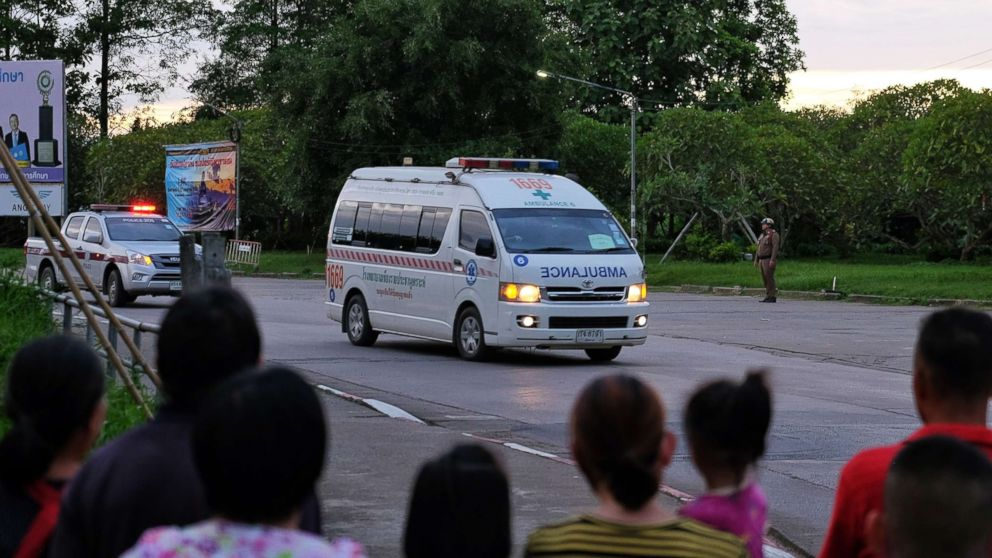 Ambulances transport boys rescued from the cave to Chiangrai Prachanukroh Hospital on July 10, 2018 in Chiang Rai, Thailand.