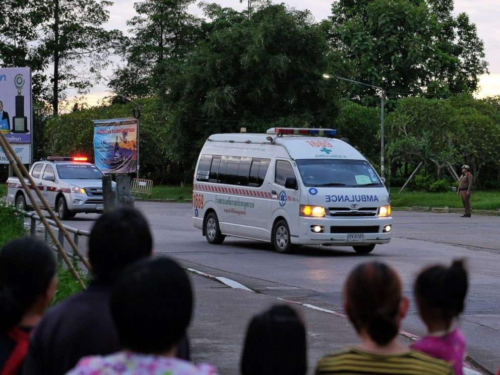 PHOTO: Ambulances transport boys rescued from the cave to Chiangrai Prachanukroh Hospital on July 10, 2018 in Chiang Rai, Thailand.