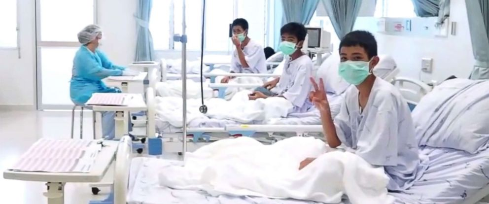 "PHOTO: Members of the ""Wild Boars"" football team at a hospital in Chiang Rai, Thailand in a photo released by the government."