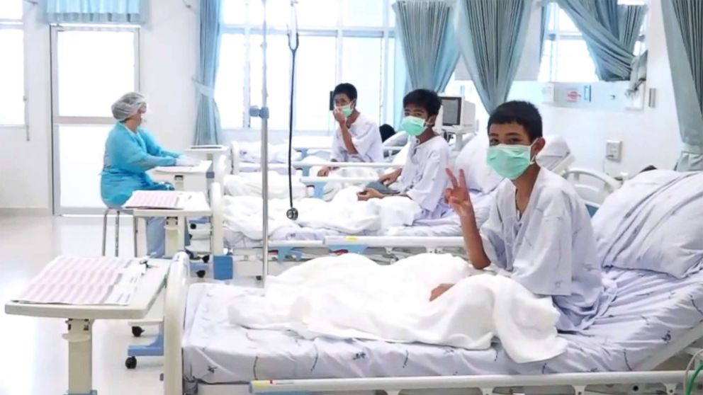 "Members of the ""Wild Boars"" football team at a hospital in Chiang Rai, Thailand in a photo released by the government."