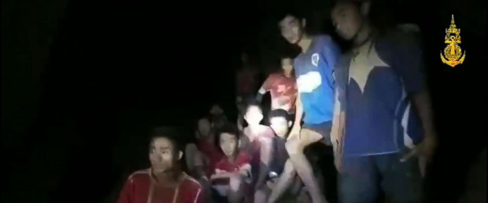 PHOTO: A light illuminates members of the soccer team found alive in a cave in Thailand as rescue workers locate the missing boys and their coach, July 2, 2018 in Khun Nam Nang Non Forest Park, Thailand.