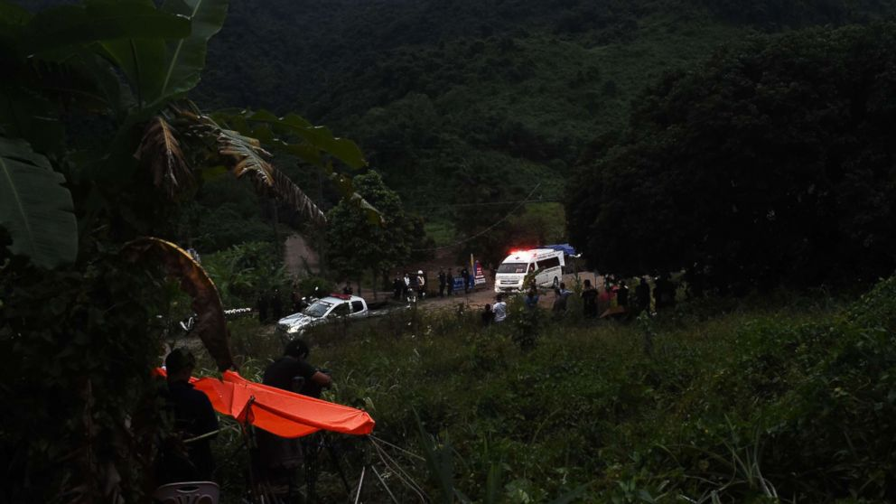 An ambulance leaves the Tham Luang cave area after divers started evacuating the 12 boys and their football team coach trapped in a flooded cave in Khun Nam Nang Non Forest Park in the Mae Sai district of Chiang Rai province on July 8, 2018 in Thailand.