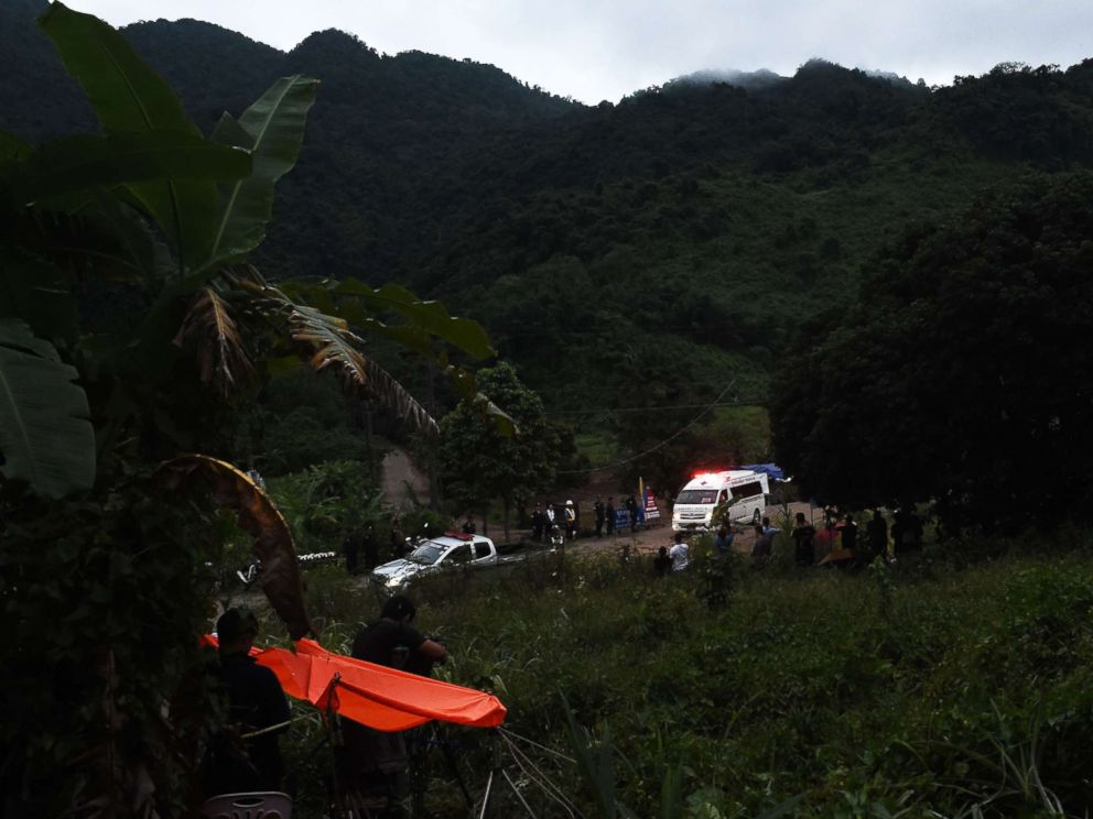 PHOTO: An ambulance leaves the Tham Luang cave area after divers started evacuating the 12 boys and their football team coach trapped in a flooded cave in Khun Nam Nang Non Forest Park in the Mae Sai district of Chiang Rai province on July 8, 2018.