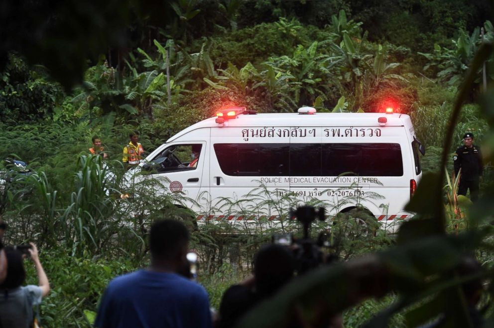 PHOTO: An ambulance leaves the Tham Luang cave area after divers evacuated some of the boys among a group of 13 trapped in a flooded cave in Khun Nam Nang Non Forest Park in the Mae Sai district of Chiang Rai province on July 8, 2018 in Thailand.