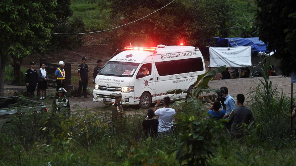 An ambulance leaves the Tham Luang cave area after divers evacuated some of the 12 boys and their coach trapped at the cave in Khun Nam Nang Non Forest Park in the Mae Sai district of Chiang Rai province on July 8, 2018 in Thailand.