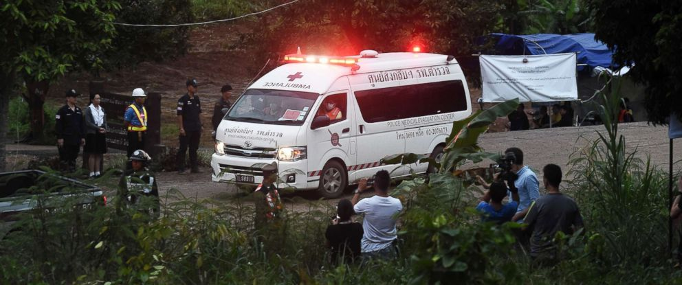 PHOTO: An ambulance leaves the Tham Luang cave area after divers evacuated some of the 12 boys and their coach trapped at the cave in Khun Nam Nang Non Forest Park in the Mae Sai district of Chiang Rai province on July 8, 2018, in Thailand.