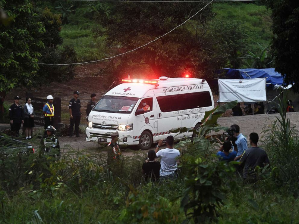 PHOTO: An ambulance leaves the Tham Luang cave area after divers evacuated some of the 12 boys and their coach trapped at the cave in Khun Nam Nang Non Forest Park in the Mae Sai district of Chiang Rai province on July 8, 2018 in Thailand.