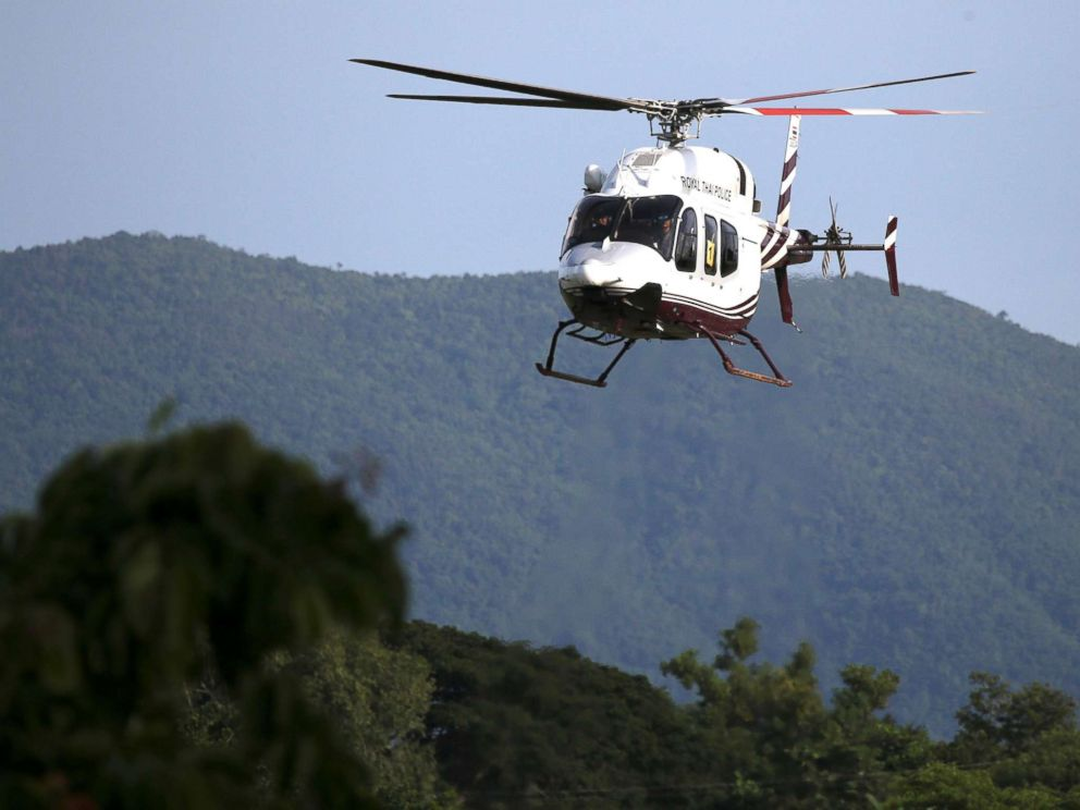 PHOTO: A military helicopter carrying rescued schoolboys approaches to land at a military airport in Chiang Rai, Thailand, July 9, 2018.