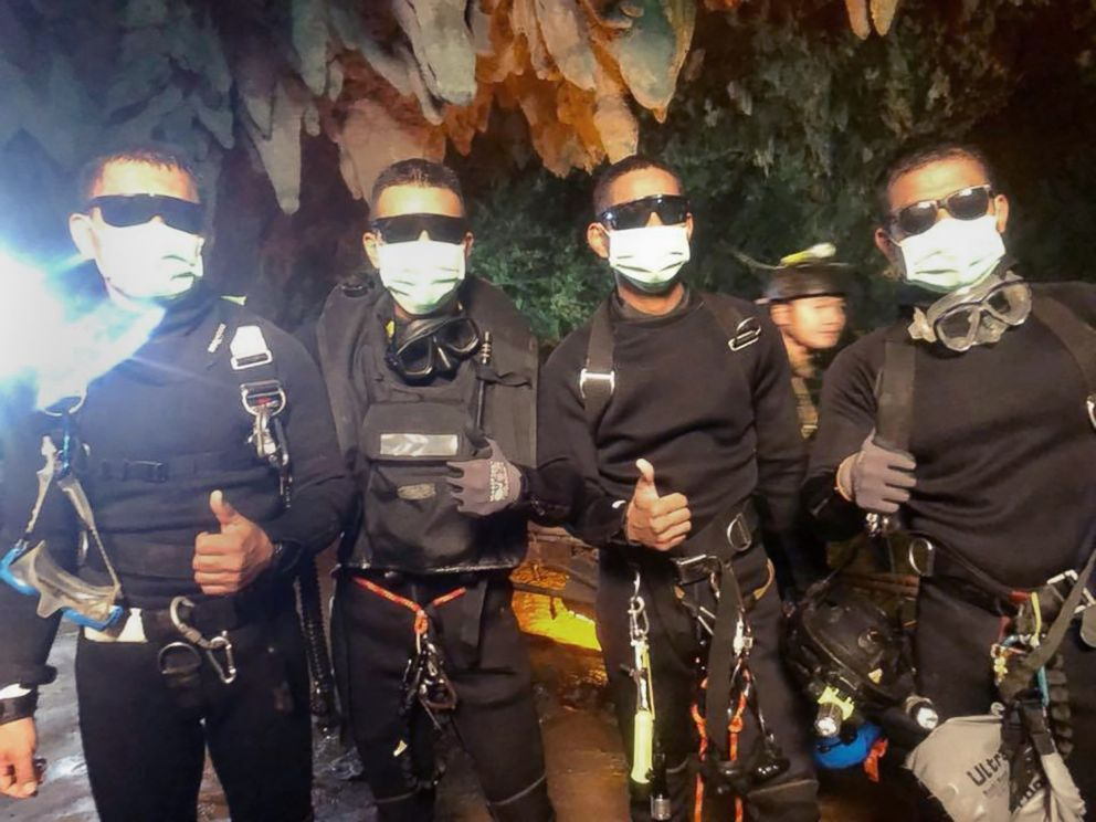 PHOTO: The three Royal Thai Navy SEAL divers and medics who stayed in the cave with the boys and coach since they were located on July 2. Officials said they emerged from the cave healthy shortly after the last rescues were made, July 10, 2018.