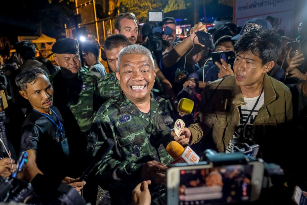 PHOTO: General Bancha Duriyaphan speaks to the press after the 12 boys and their soccer coach have been found alive in the cave where theyve been missing for over a week after monsoon rains blocked the main entrance, July 02, 2018, in Thailand.