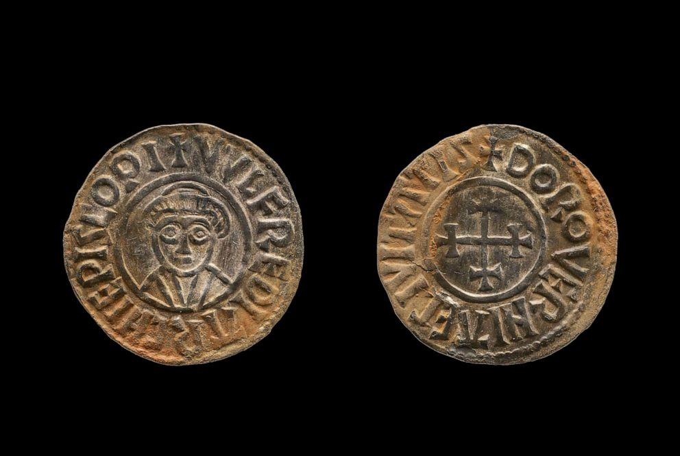 PHOTO: A coin which was part of Viking hoard by two amateur British treasure-hunters is seen here in this undated file photo.