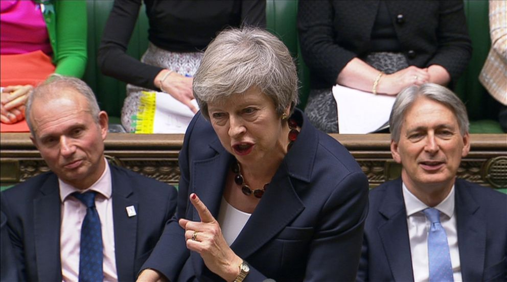 Britain's Prime Minister Theresa May speaks in the House of Commons in London, Nov. 14, 2018.