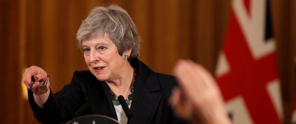 PHOTO: Britains Prime Minister Theresa May takes questions during a press conference inside 10 Downing Street in London, Thursday, Nov. 15, 2018.