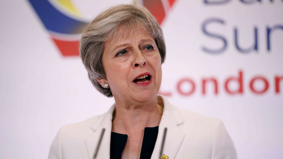 Britain's Prime Minister Theresa May takes part in a press conference during the Western Balkans Summit 2018 at Lancaster House in London, July 10, 2018.