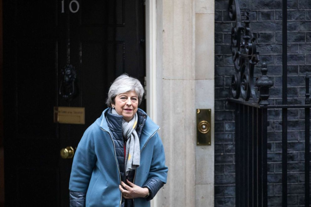 PHOTO: Prime Minister Theresa May departs Downing Street after a Cabinet Meeting, March 12, 2019, in London.