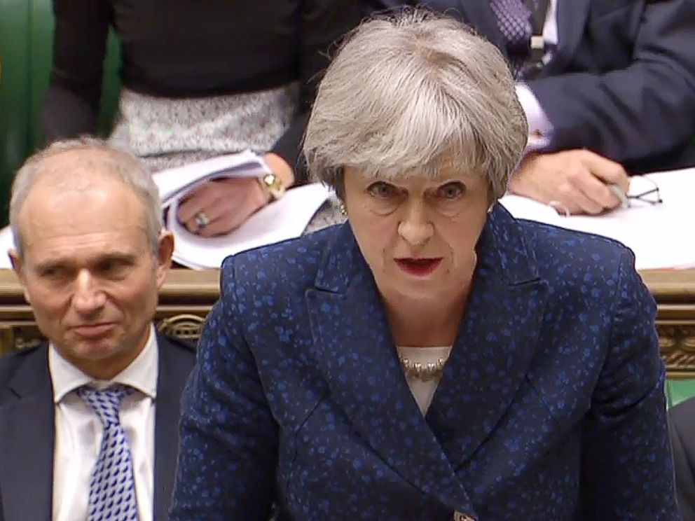 PHOTO: Britains Prime Minister Theresa May at the weekly Prime Ministers Questions in the House of Commons in London, March 7, 2018.