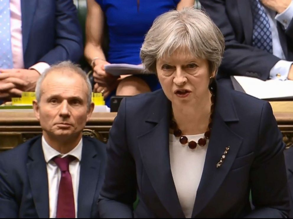 Britains Prime Minister Theresa May makes a statement on Britains response to a March 4 nerve attack on a former Russian double agent following a meeting of Britains National Security Council in the House of Commons in central London