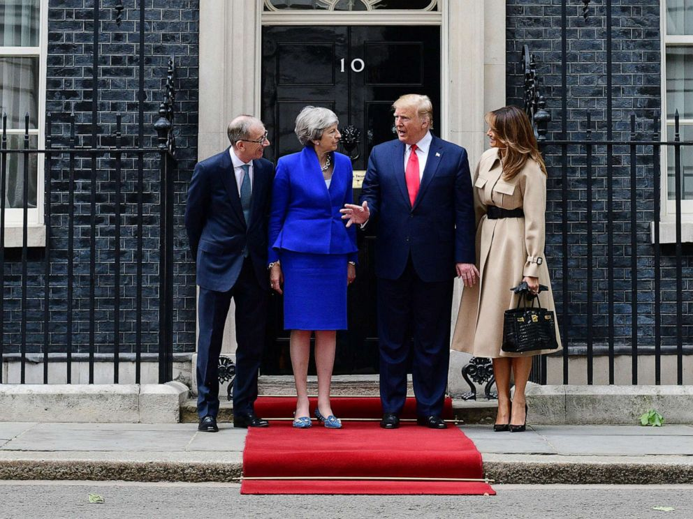 PHOTO: Prime Minister Theresa May and husband Philip May welcome President Donald Trump and first lady Melania Trump to 10 Downing Street, during the second day of his State Visit, June 4, 2019, in London.
