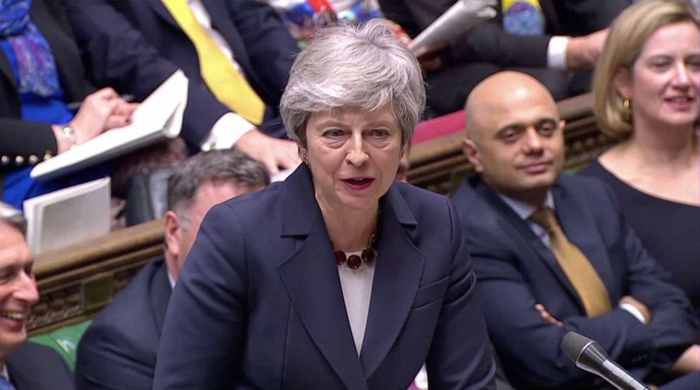 Britain's Prime Minister Theresa May answers questions to Parliament in London, March 27, 2019, in this screen grab taken from video.