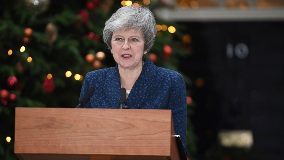 Britain's Prime Minister Theresa May makes a media statement in Downing Street, London, confirming there will be a vote of confidence in her leadership of the Conservative Party, Wednesday Dec. 12, 2018.