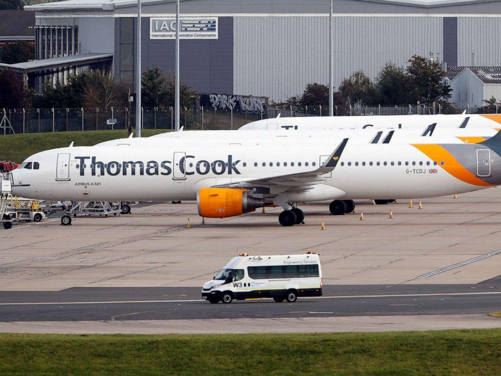 PHOTO: Thomas Cook planes on the tarmac at Birmingham airport in Birmingham, England, Sept. 23, 2019.