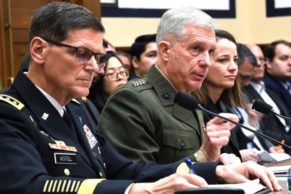 PHOTO: U.S. Africa Command Commander Gen. Thomas Waldhauser, center testifies before the House Armed Services Committee on Capitol Hill in Washington, March 7, 2019.
