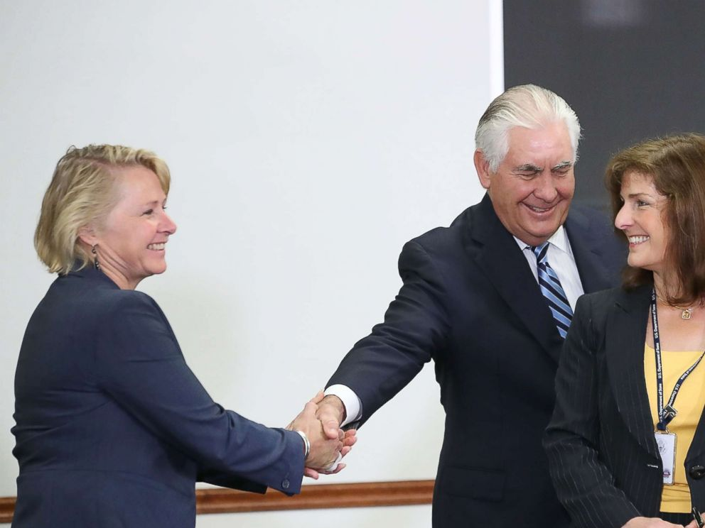 PHOTO: Secretary of State Rex Tillerson shakes hands with Susan Thornton (L), Principal Deputy Assistant Secretary during a meeting of the U.S.-Japan Security Consultative Committee at the State Department, Aug. 17, 2017, in Washington, D.C.
