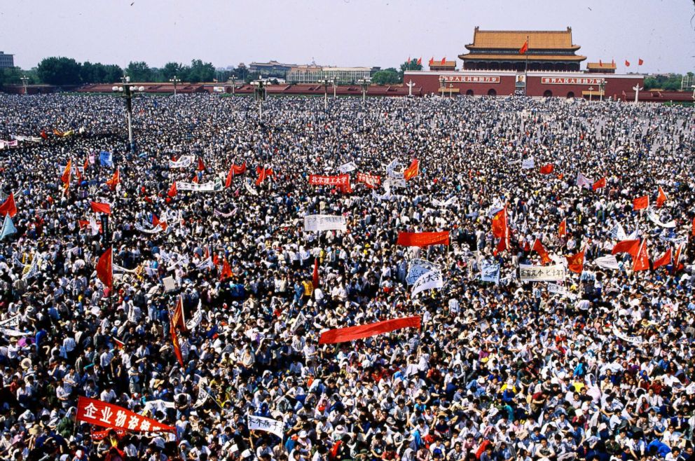 A sea of student protesters gathers in Tiananmen Square, Beijing, on May 4, 1989.