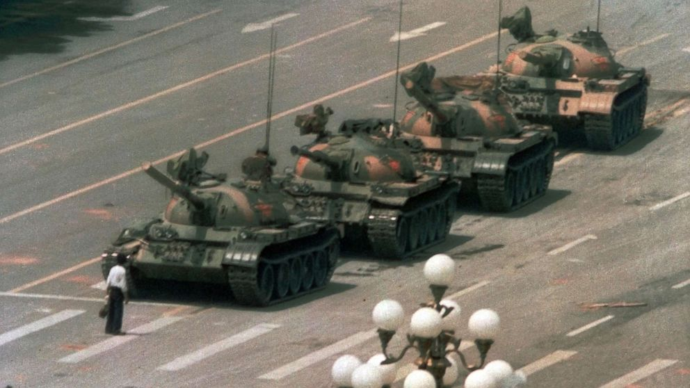 PHOTO: A Chinese man stands alone to block a line of tanks heading east on Beijing's Cangan Blvd. in Tiananmen Square on June 5, 1989.