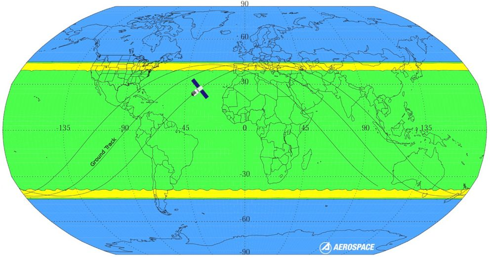 The yellow regions show the parts of the world where the space station would be most likely to re-enter, while the green area is possible and the blue area is impossible.