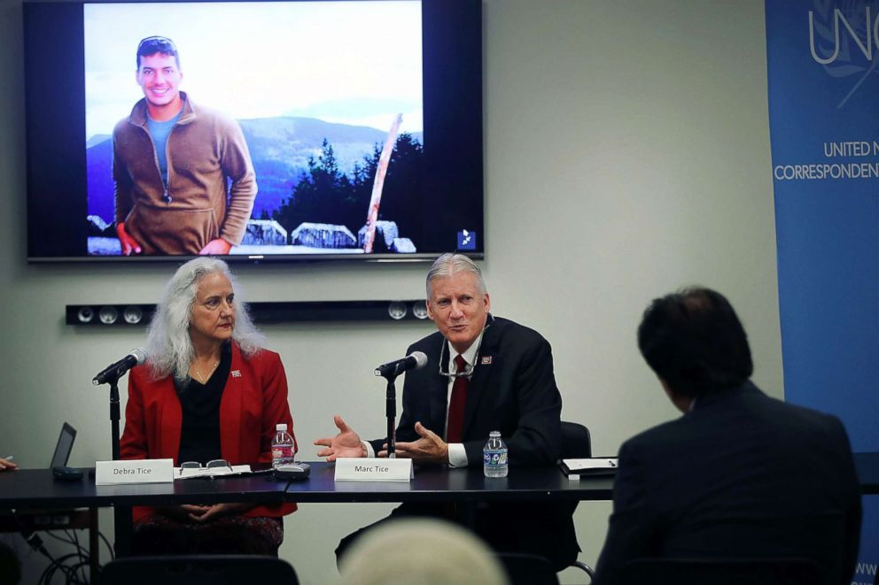 PHOTO: Marc and Debra Tice hold a news conference about their missing son American journalist Austin Tice, Sept. 17, 2018 at the United Nations in New York.