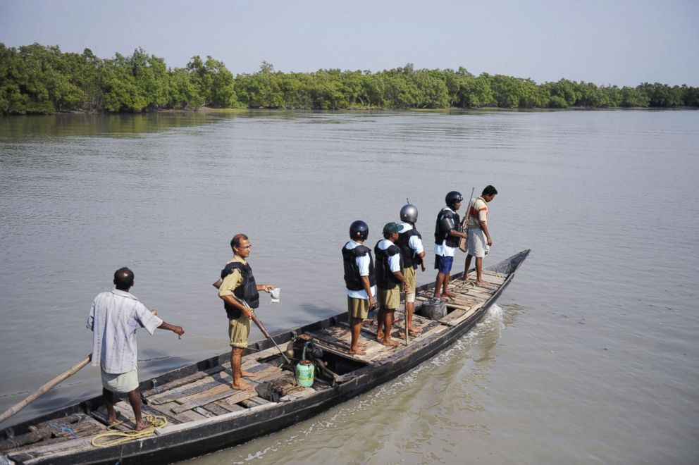 PHOTO: Indian forest workers ride a boat during a week-long tiger census in the Sundarbans, March 4, 2010. Conservation group WWF India has cited saying the government estimates that there are just over 1,400 tigers left in the wild.
