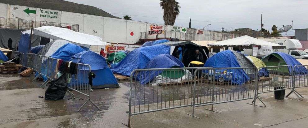 Tents are seen along the grounds of El Barretal migrant camp in Tijuana, Mexico.