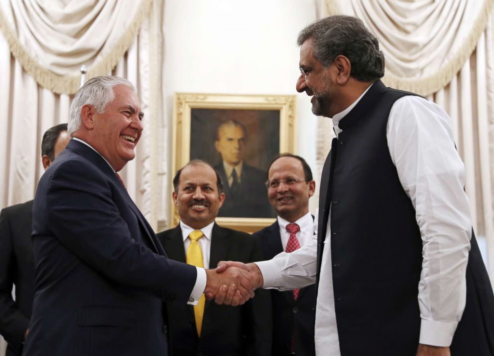 PHOTO: Secretary of State Rex Tillerson shakes hands with Pakistani Prime Minister Shahid Khan Abbasi before their meeting at the Prime Ministers residence in Islamabad, Oct. 24, 2017.