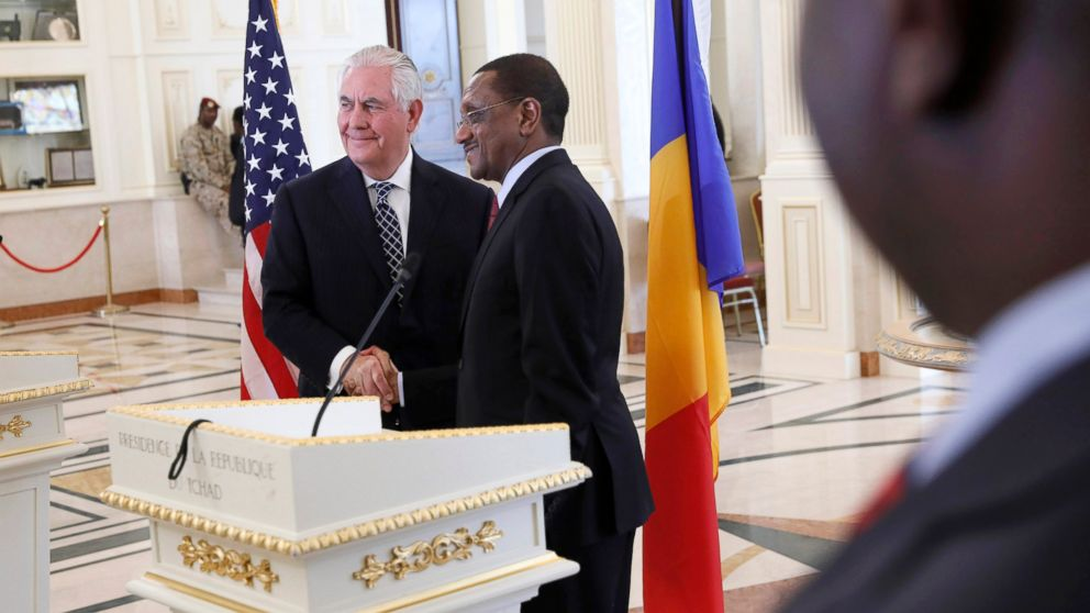 U.S. Secretary of State Rex Tillerson shakes hands after a news conference with Chad's Foreign Minister Mahamat Zene Cherif in N'Djamena, Chad, March 12, 2018.