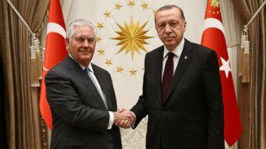 'PHOTO: Turkish President Recep Tayyip Erdogan (R) receives US Secretary of State Rex Tillerson (L)1_b@b_1the Presidential Complex in Ankara, Turkey, Feb. 15, 2018.' from the web at 'https://s.abcnews.com/images/International/tillerson-erodgen-gty-er-180216_16x9t_384.jpg'