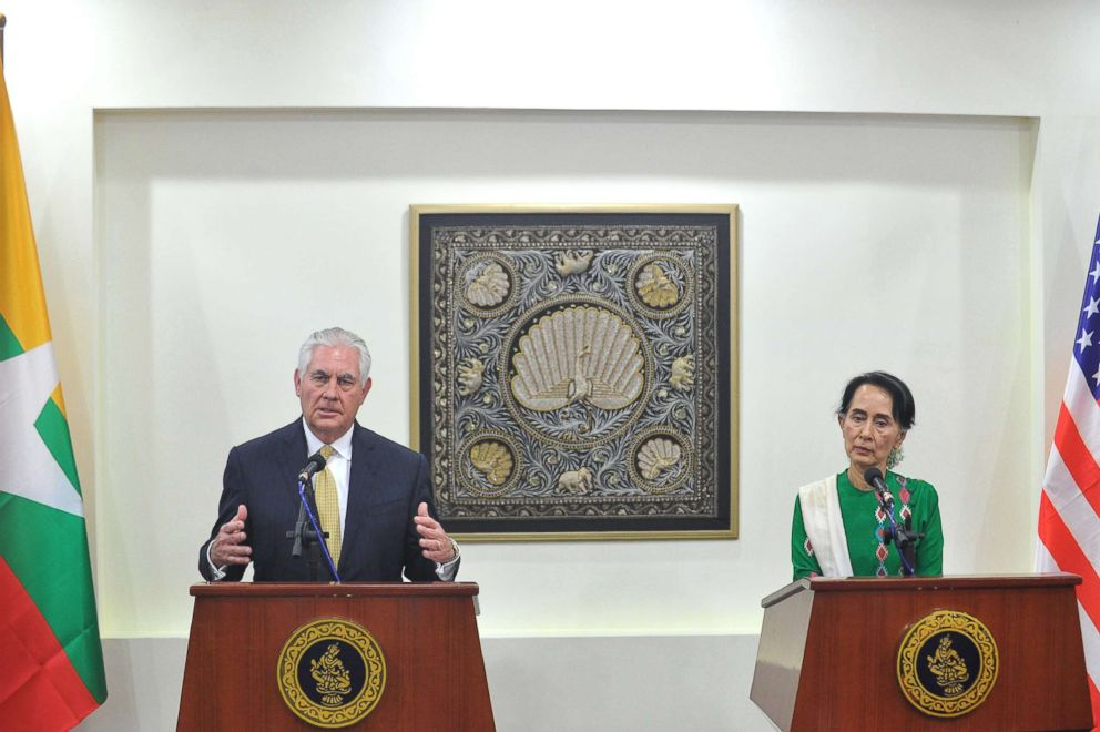 PHOTO: Secretary of State Rex Tillerson talks to the media beside Myanmars State Counselor Aung San Suu Kyi (R) during a press conference in Naypyidaw, Myanmar, Nov.15, 2017.