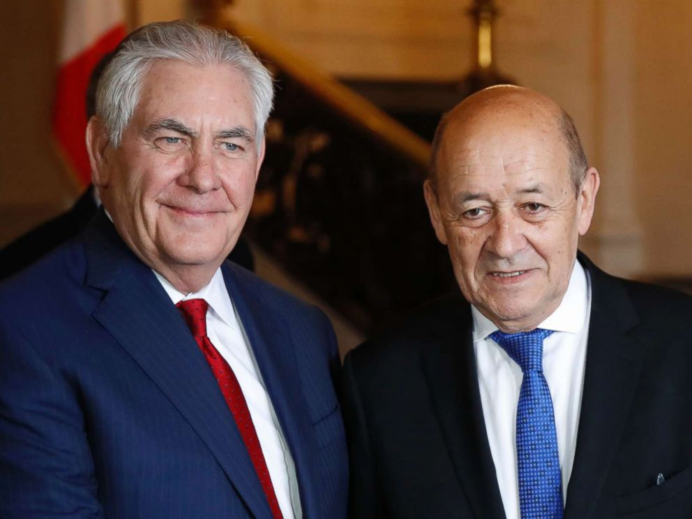 PHOTO: U.S. Secretary of State Rex Tillerson, left, shakes hands with French Foreign Affairs Minister Jean-Yves Le Drian before a meeting in Paris, Jan. 23, 2018.