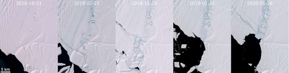 PHOTO: A series of satellite images shows the evolution of damage to the Pine Island Glacier in Antarctica since 2016.