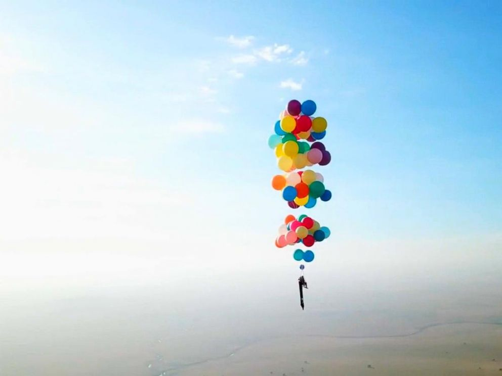 PHOTO: Tom Morgan, 38, who flew for more than 15 miles strapped to helium balloons, is part of an adventure group called The Adventurists.