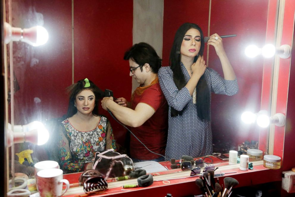 PHOTO: Pakistans first transgender newscaster Marvia Malik, right, gets ready to go on air at a local television channel in Lahore, Pakistan, on March 27, 2018.