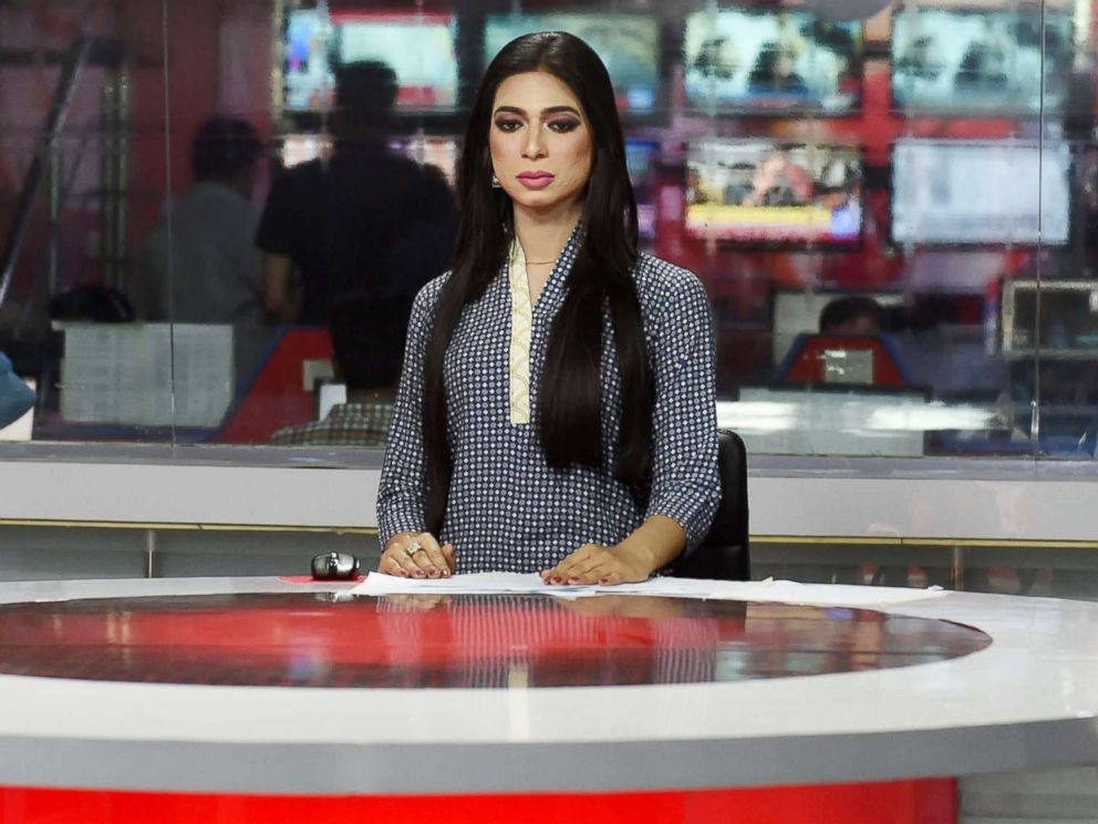 PHOTO: Pakistans first transgender news anchor Marvia Malik, reads the news on air for the private channel Kohenoor in Lahore, March 27, 2018.