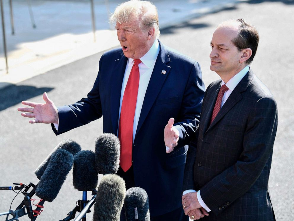 PHOTO: President Donald Trump and U.S. Labor Secretary Alexander Acosta address the media at the White House in Washington, July 12, 2019.