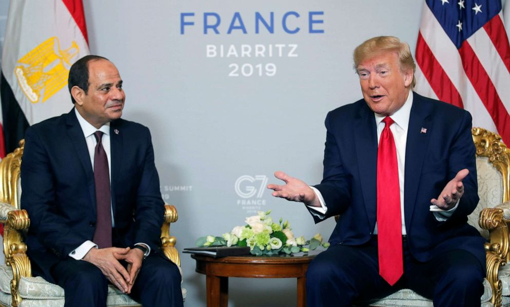 PHOTO: President Donald Trump meets Egypts President Abdel-Fattah el-Sisi for bilateral talks during the G-7 summit in Biarritz, France, on Aug. 26, 2019.
